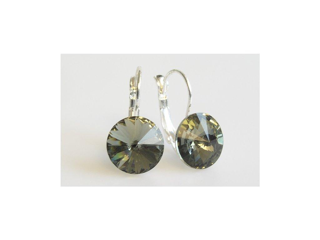 Náušnice Rivoli 12 mm black diamond  made with Swarovski®  Elements