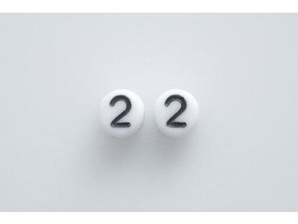"""Korálky s čísly """"2"""" 11130218 6 mm 03000/46449"""