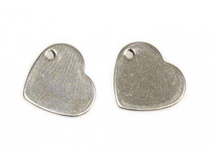 Přívěsek srdce 10x11x0,8 mm - ocel
