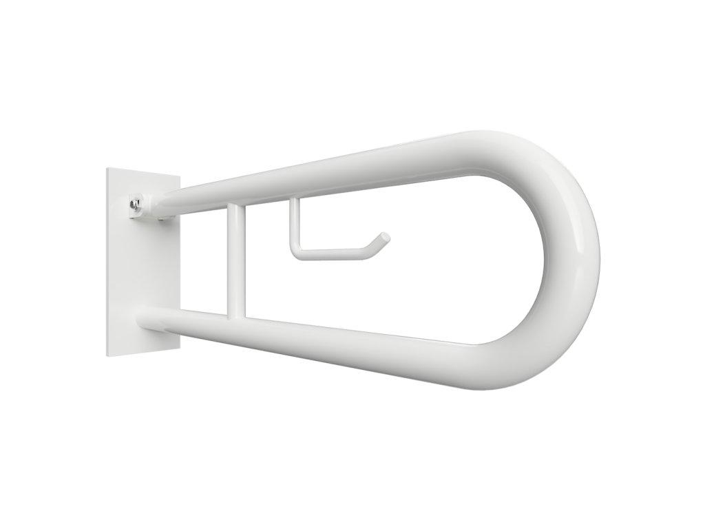 Bemeta HELP Sklopný úchyt v tvare U 600 mm, biely, s krytkou a držiakom TP (Farba Biela)