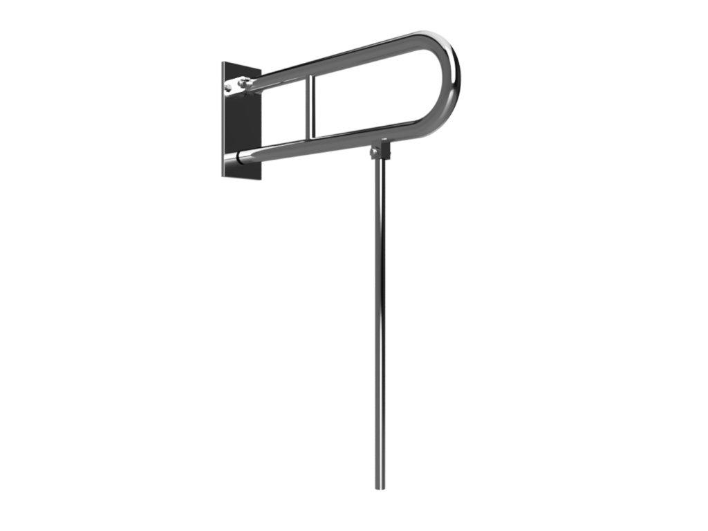 Bemeta HELP Sklopný úchyt v tvare U s opornou nohou 813 mm, brus, s krytkou (Farba Biela)