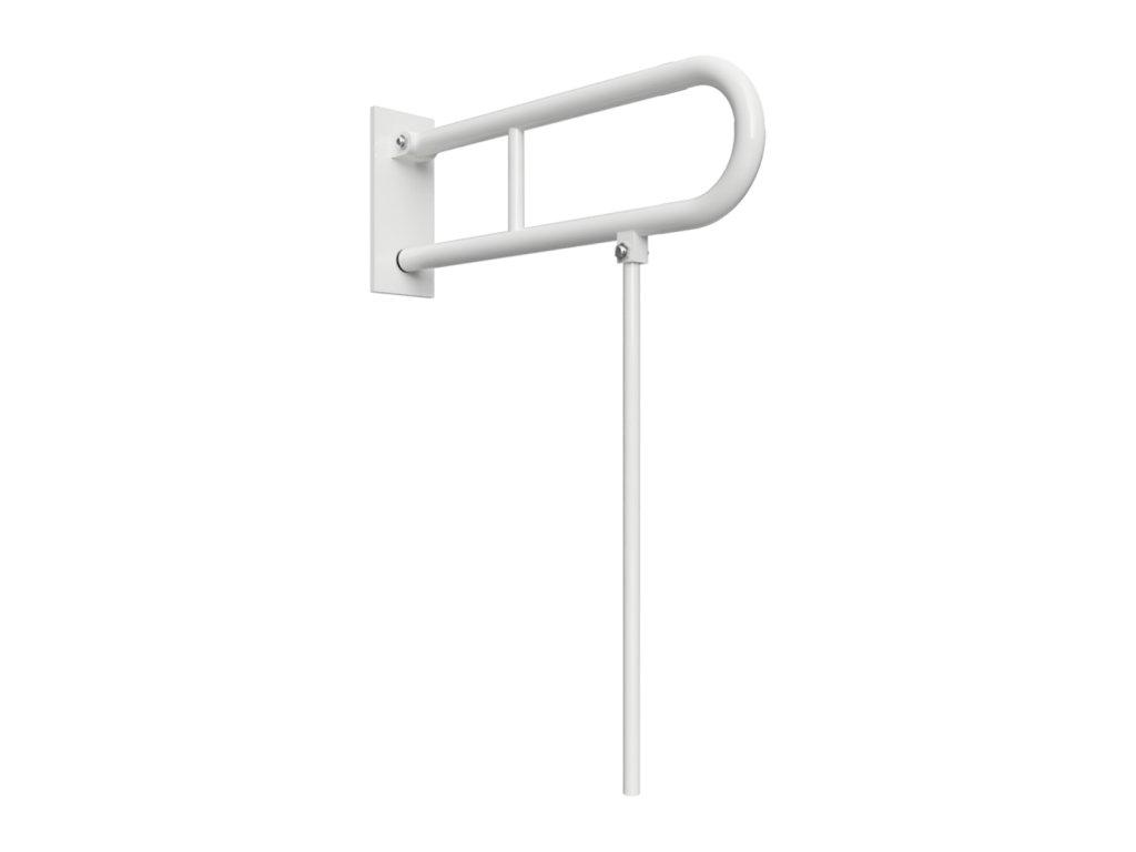 Bemeta HELP Sklopný úchyt v tvare U s opornou nohou 850 mm, biely, s krytkou (Farba Biela)