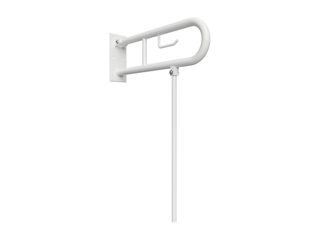 Bemeta HELP: Sklopný úchyt v tvare U s opornou nohou 850mm, biely, s držiakom TP (Farba Biela)