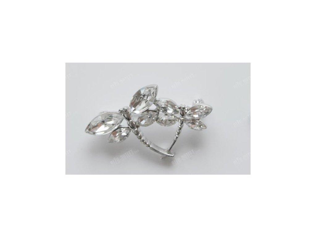 Brož vážky vykládané krystaly, Swarovski Elements