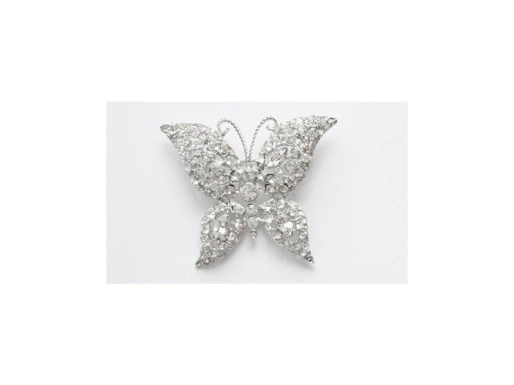 Brož motýl vykládaný krystaly, Swarovski Elements