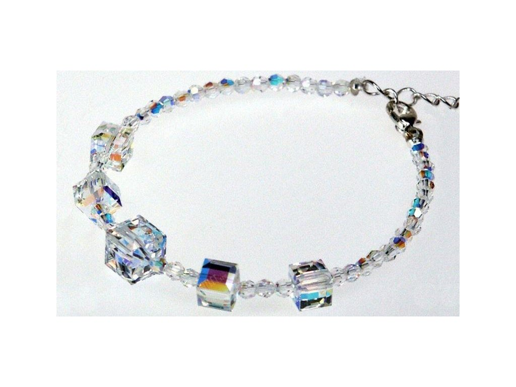 Náramek z krystalových kuliček a kostek, Swarovski Elements