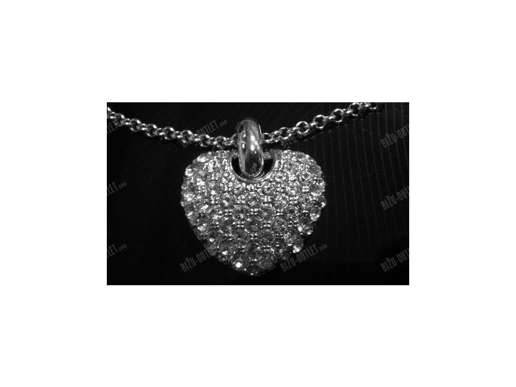 Náhrdelník srdce střed, Swarovski Elements