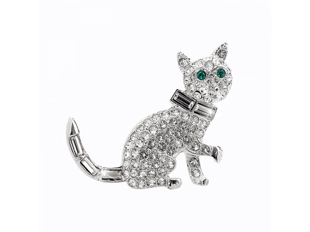 Brož kočka se Swarovski krystaly ciry crystals sperky bizuterie bizu outlet.com