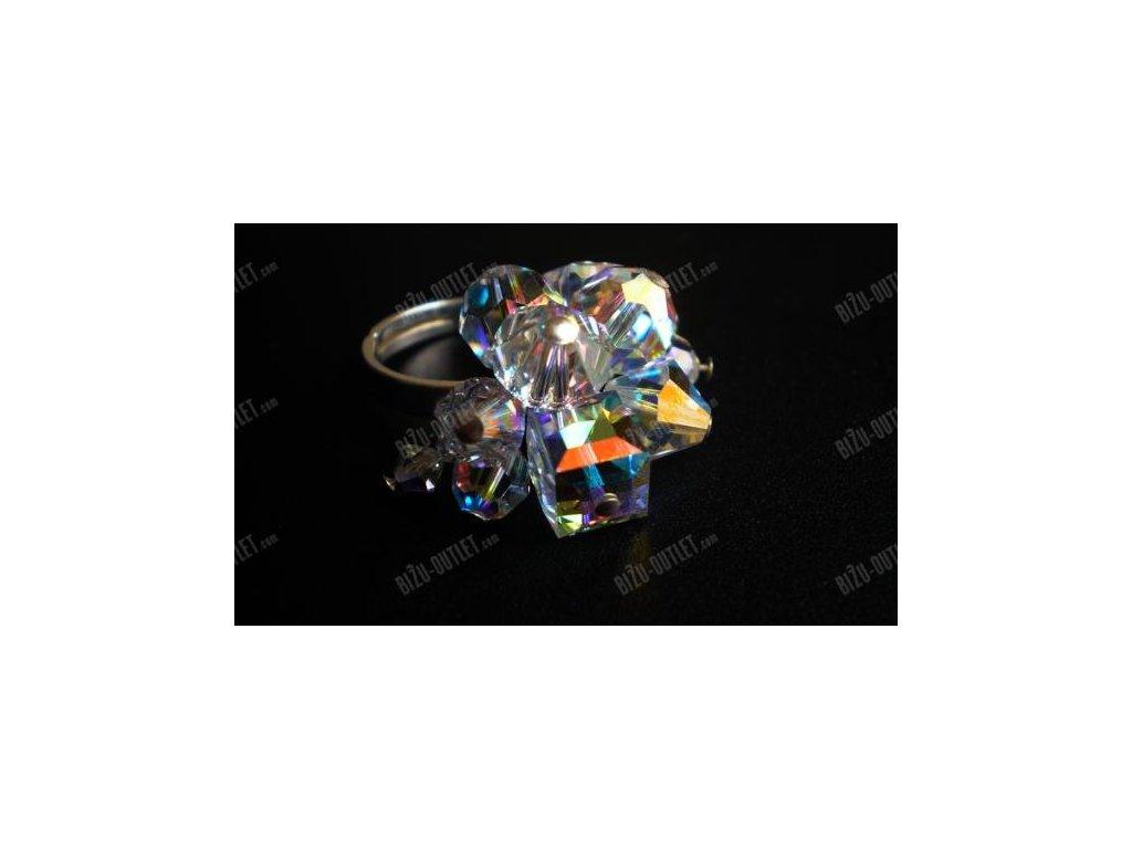 Sříbrný prsten s různými krystalovými tvary, Swarovski Elements