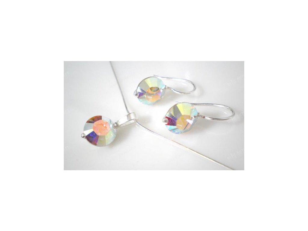 Souprava náhrdelníku a náušnic s okrouhlým krystalem uchyceným ve stříbře, Swarovski Elements