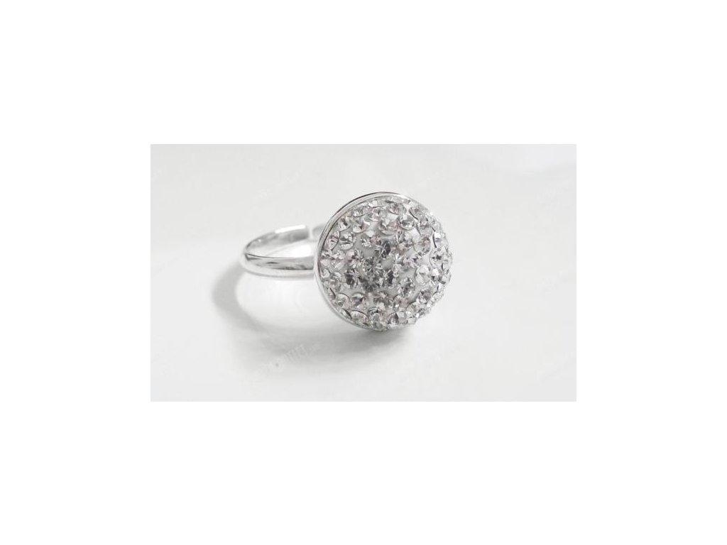 Luxusní prsten půlkulička, Swarovski Elements