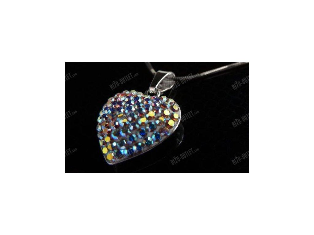 Stříbrný náhrdelník srdce vykladané krystaly, Swarovski Elements