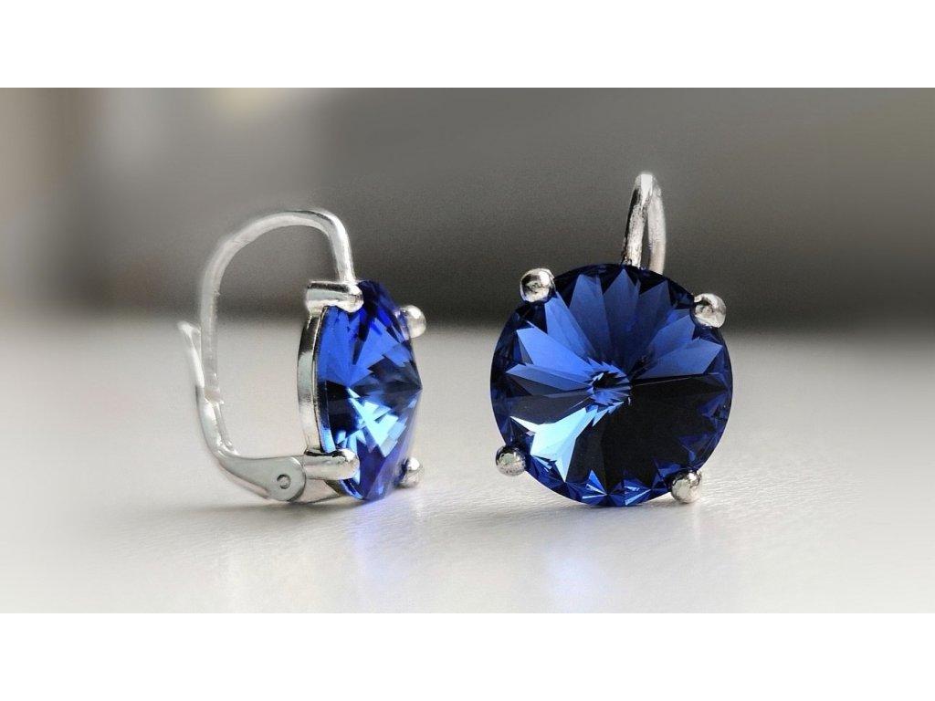 nausnice stribro swarovski crystal okrouhle glittersquare sperky sapphire