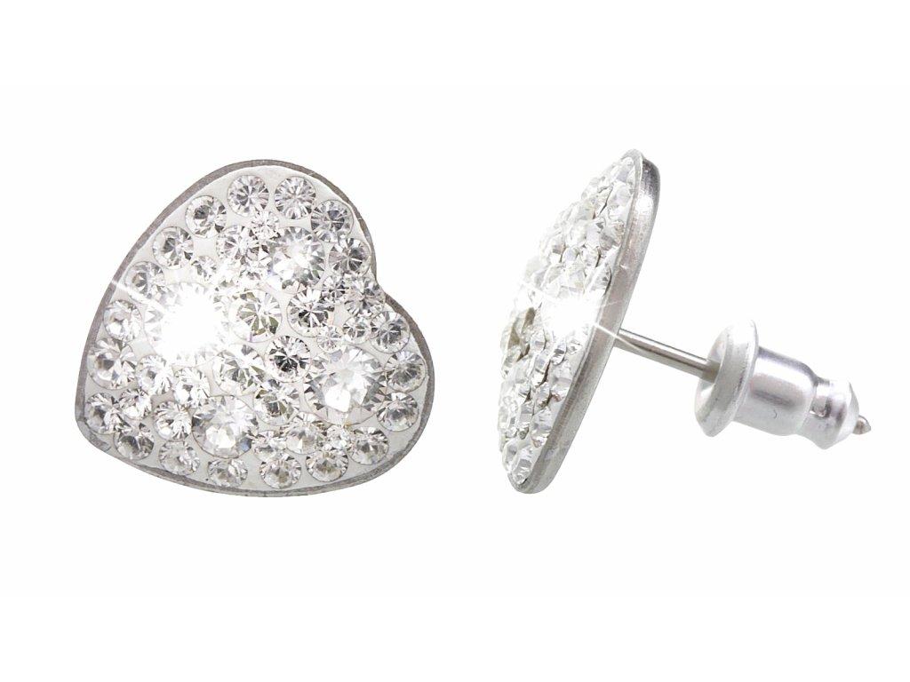 Puzetové náušnice srdce se Swarovski crystals chirurgicka ocel crystal ciry šperky bizu outlet.com