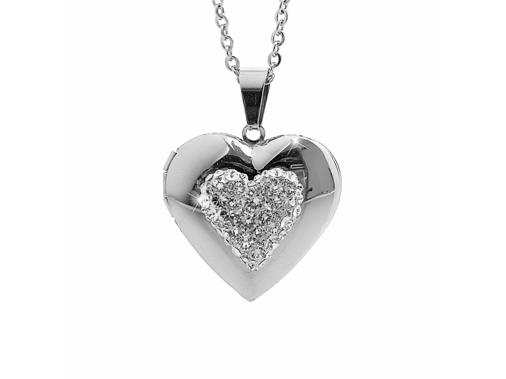 Náhrdelník otevírací srdce Swarovski crystals chirurgicka ocel spominky fotky šperky bižu outlet