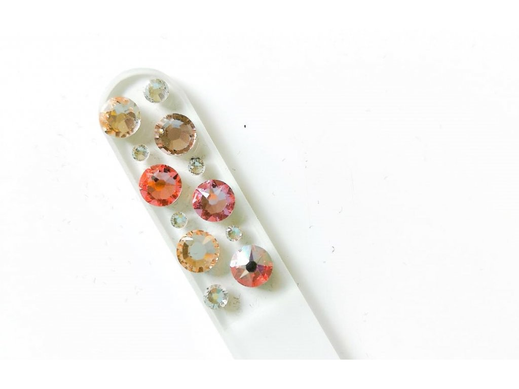 swarovski crystals pilnicek na nehty maly bohaty s krystaly light peach