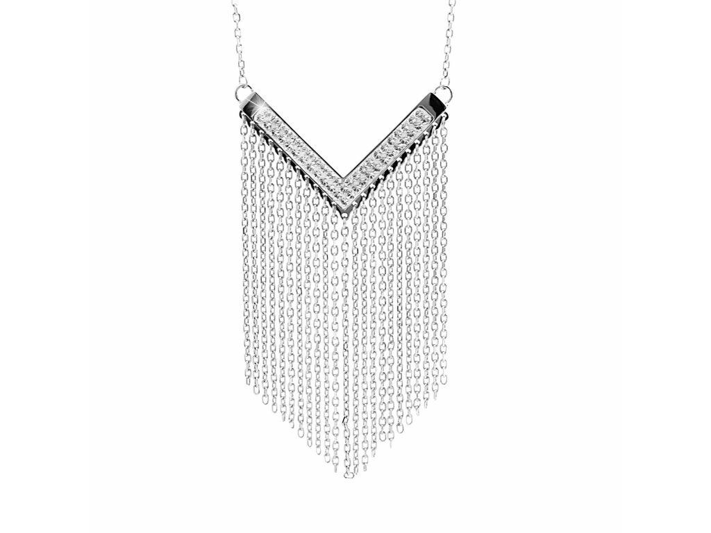 Náhrdelník ve tvaru V s třásněmi s krystaly Swarovski glittersquare 61300794cr