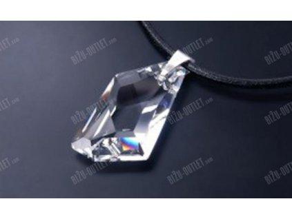 Kožený náhrdelník s krystalovým přívěskem nepravidelného tvaru, Swarovski Elements