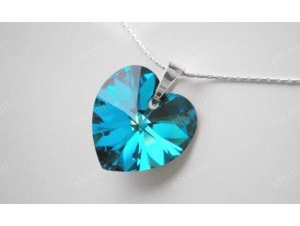 Stříbrný náhrdelník s krystalovým srdíčkem, Swarovski Elements