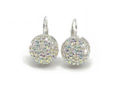 luxusni stribrne nausnice pulkulicka swarovski crystals stribro sperky glittersquare elements