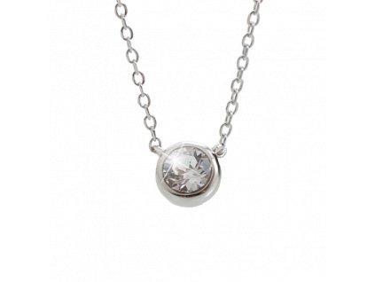 Stříbrný náhrdelník se šatonem s krystaly Swarovski porhodiováno šperky bižu outlet