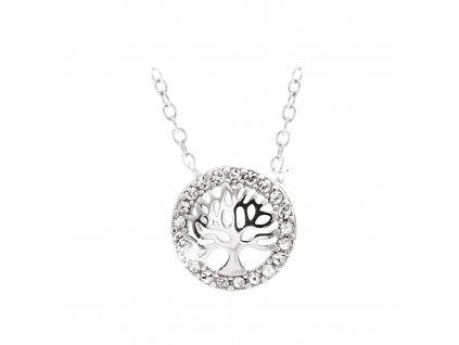 stříbrný náhrdelník strom života swarovski crystals elements šperky bižuterie bizu outlet.com glitter square