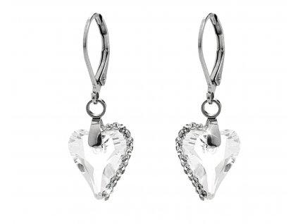 Náušnice SRDCE šikmé Swarovski Crystals 61400774 šperky glittersquare