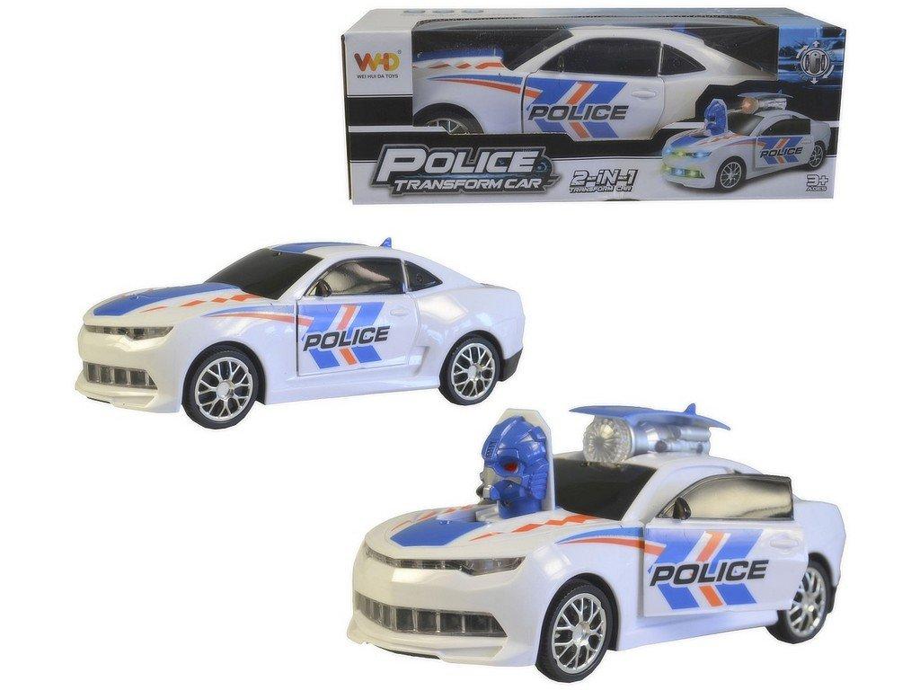 Auto policejní na baterie, světlo, zvuk, pohyb, transformace, 20cm