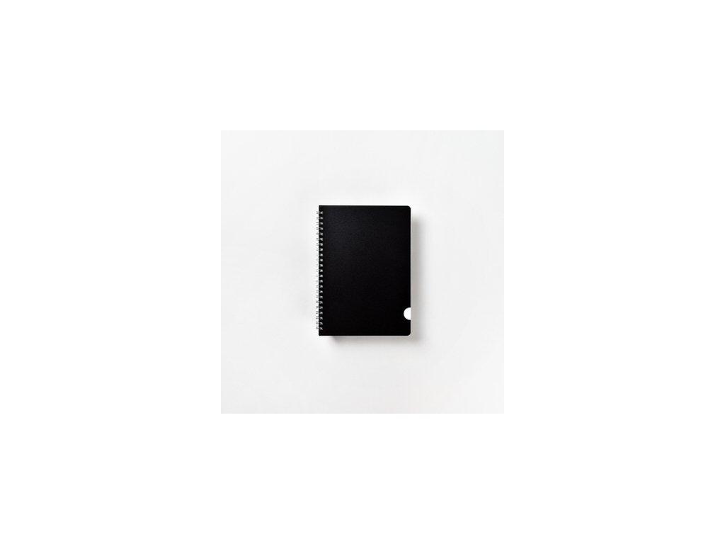 BOBO kroužkový blok Plastic BLACK A5 linkovaný