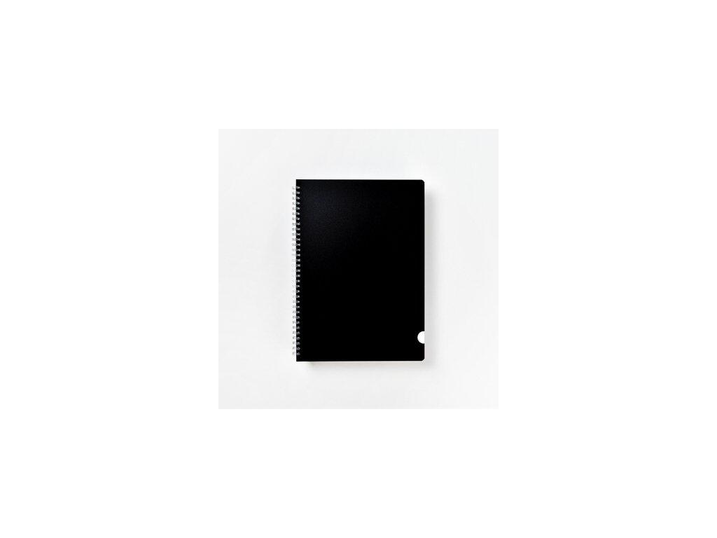 BOBO kroužkový blok Plastic BLACK A4 linkovaný