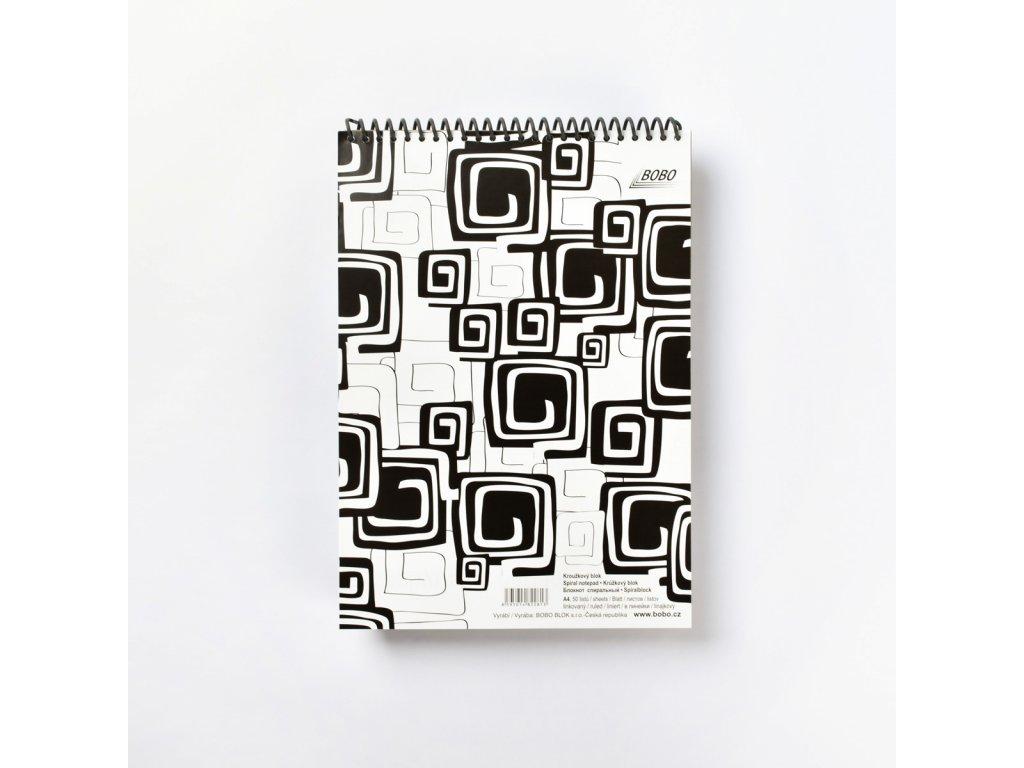 BOBO poznámkový blok s plastovou spirálou Black & White A4 linkovaný