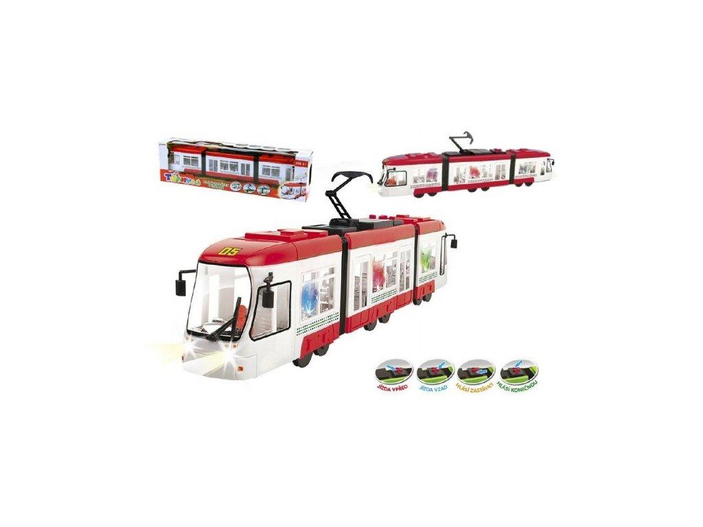 2259 tramvaj cervena plast 43cm na baterie cesky mluvici se svetlem v krabici