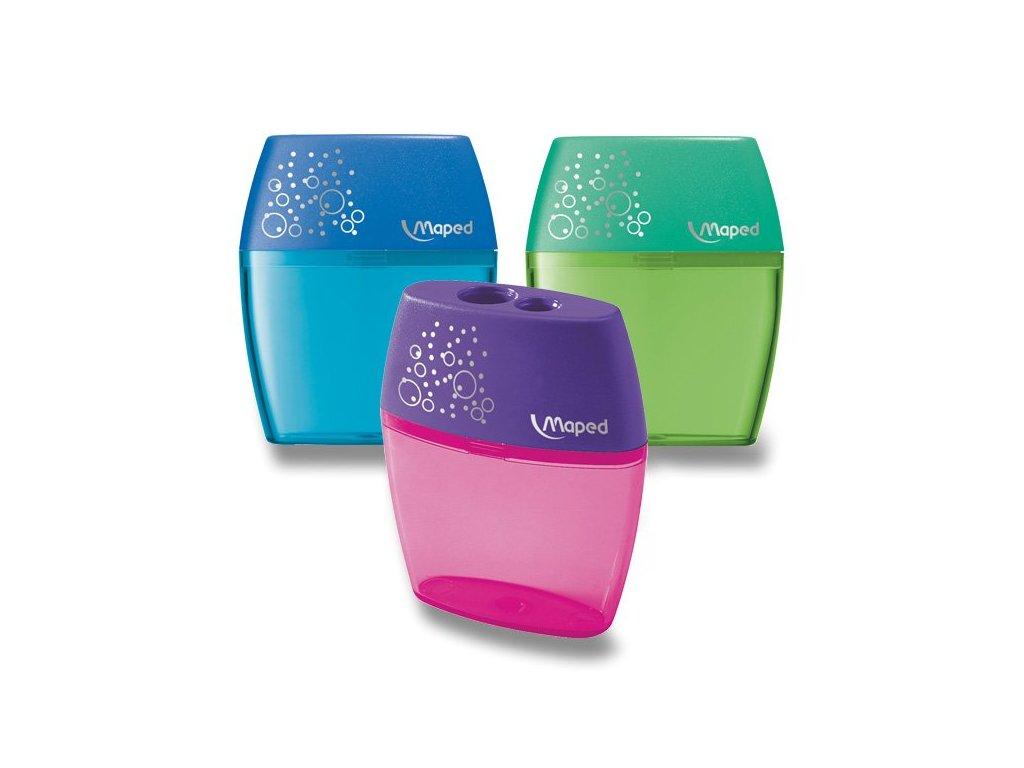 Ořezávátko Maped Shaker - s odpadní nádobkou 2 otvory, mix barev