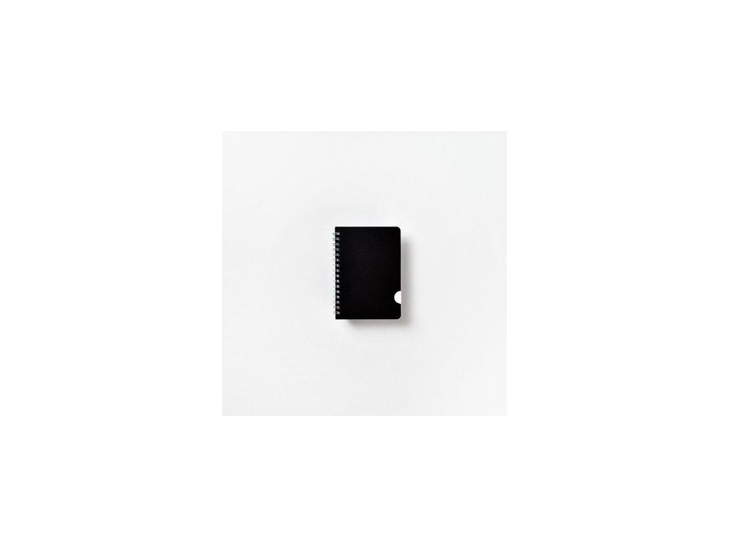 BOBO kroužkový blok Plastic BLACK A6 linkovaný