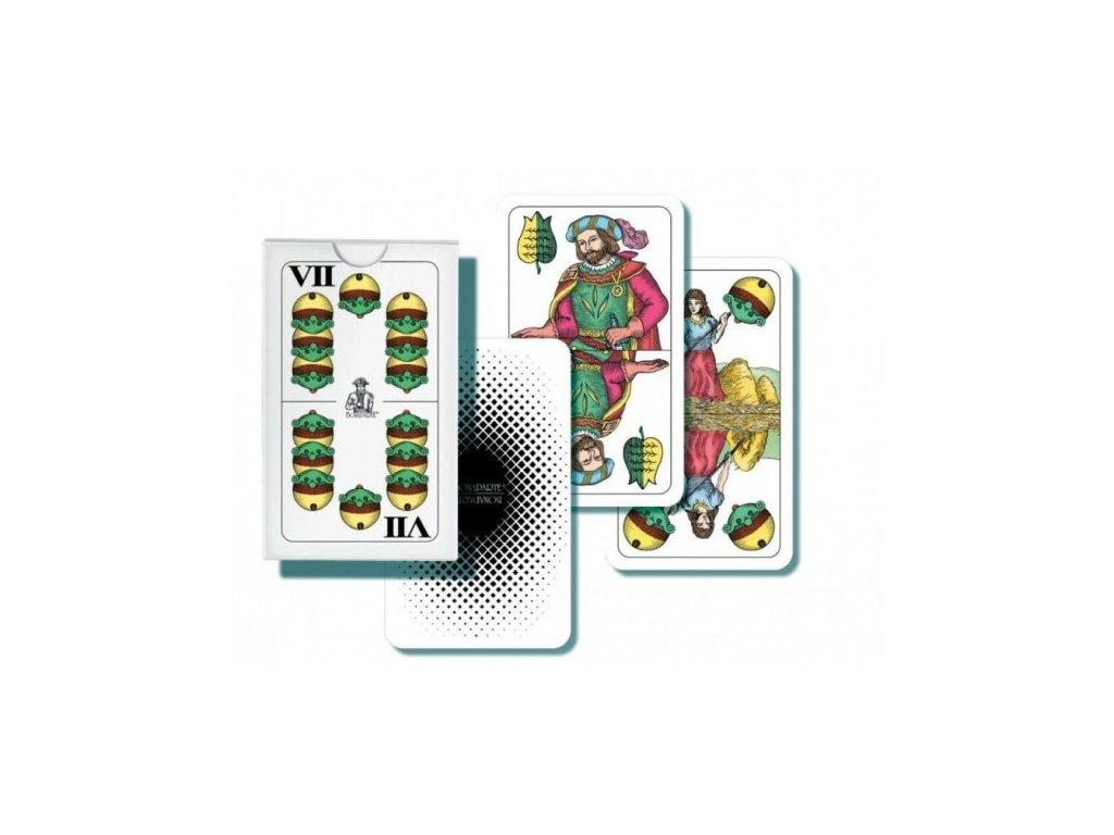 Mariáš dvouhlavý společenská hra karty v papírové  krabičce 6,5x10x1cm
