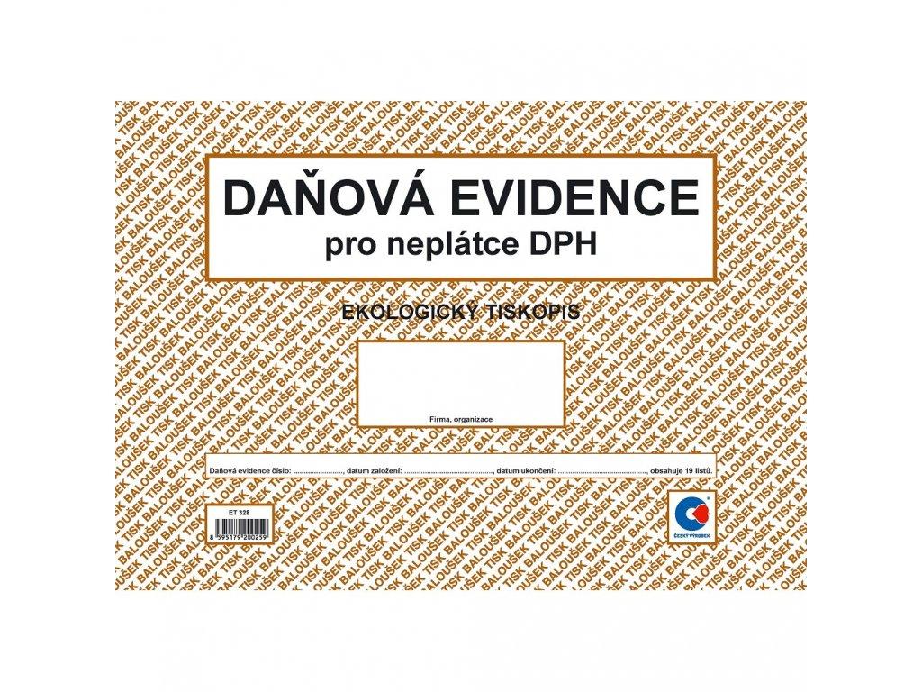 Peněžní deník A4 = daň. evidence (neplátce DPH) - ET328
