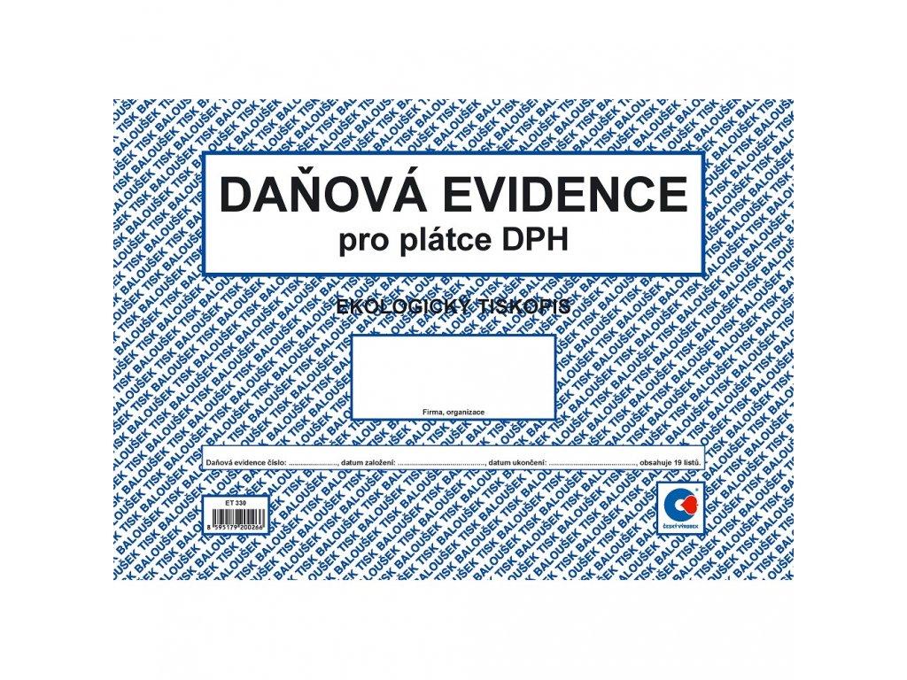 Peněžní deník A4 = daň. evidence (plátce DPH) - ET330