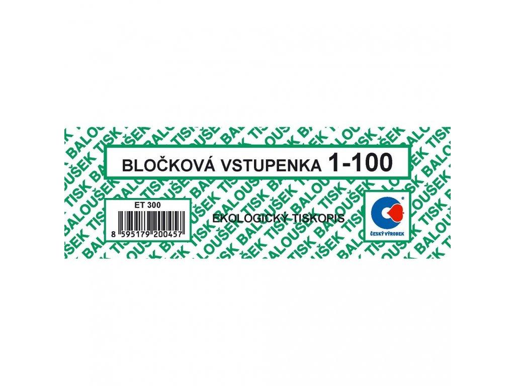 Bločkové vstupenky 1-100 čísel - ET300