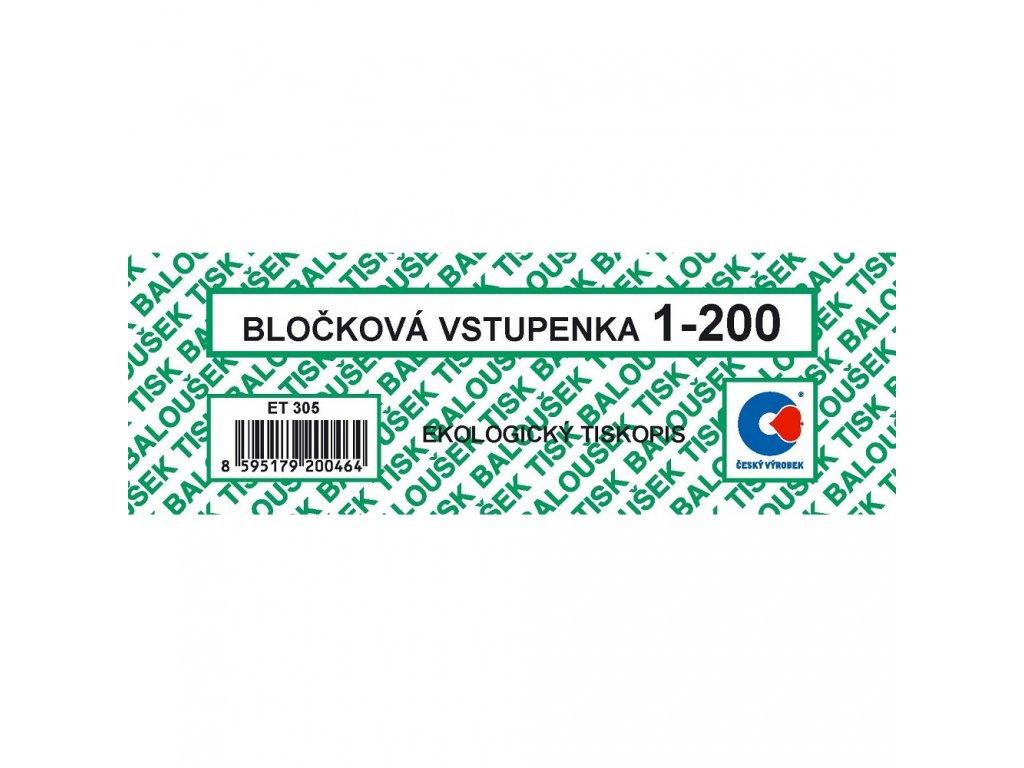 Bločkové vstupenky 1-200 čísel - ET305