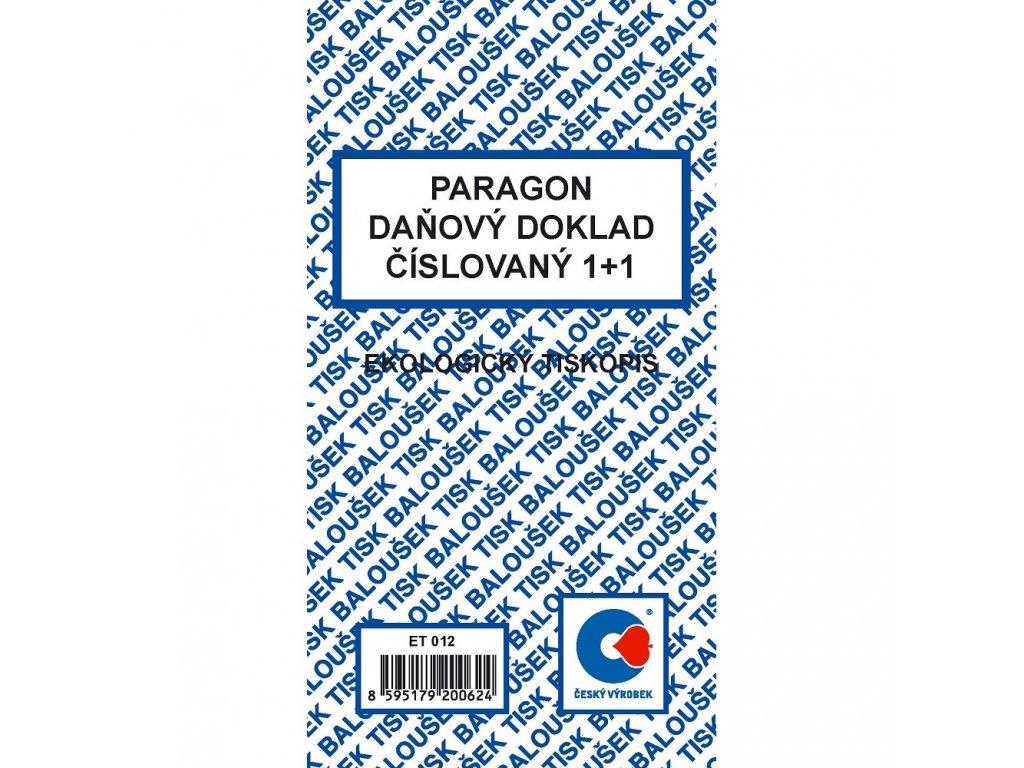 Paragon-daňový doklad číslovaný - ET012