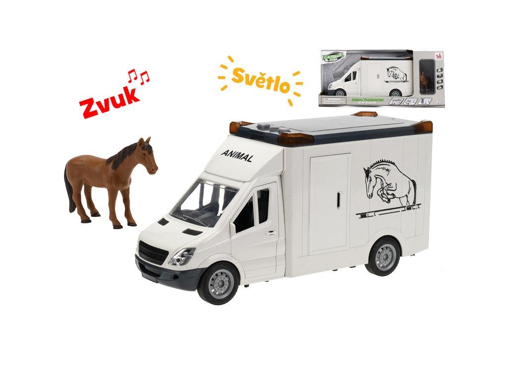Auto přepravní 27cm na setrvačník na baterie se světlem a zvukem s koněm v krabičce