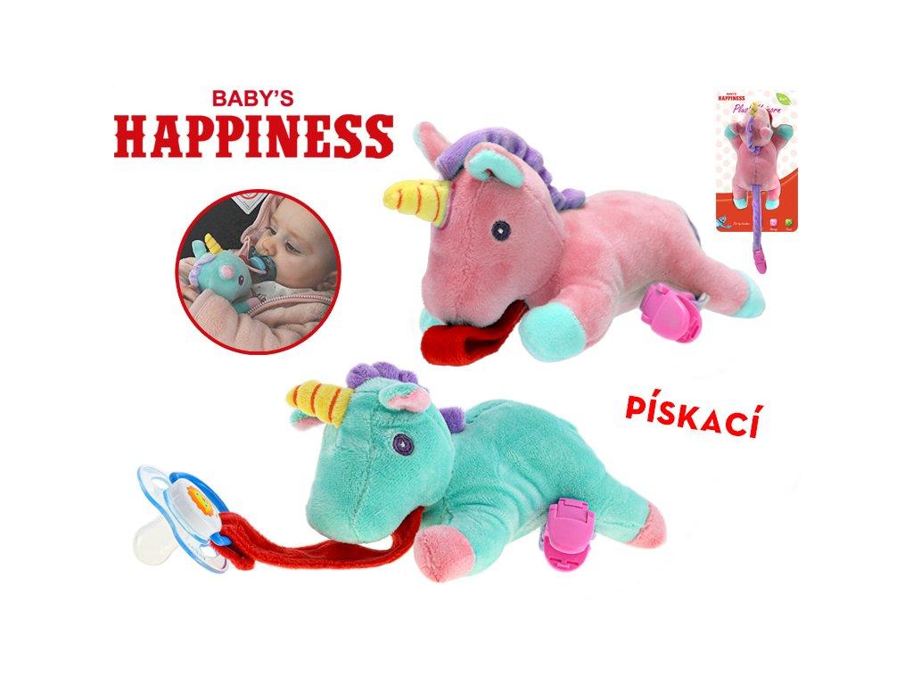 Jednorožec plyšový 17cm na dudlík Baby's Happiness pískací 0m+ 2barvy na kartě v sáčku