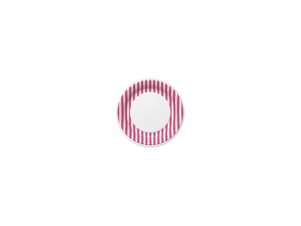 Párty talířky o 23 cm - růžový proužek