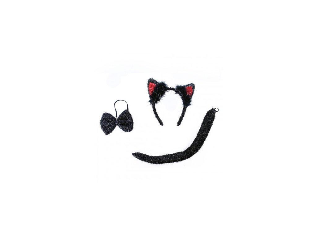 Sada Kočka - čelenka, motýlek, ocas