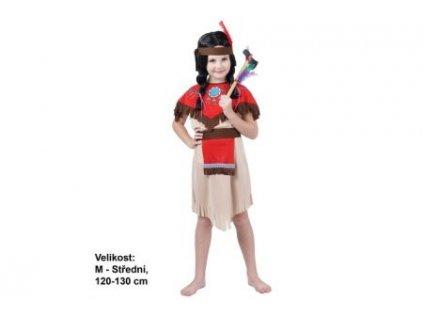 Kostým na karneval - Indiánka s čelenkou, 120-130 cm
