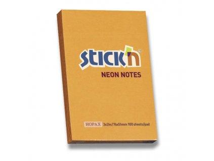 Samolepicí bloček Hopax Stick'n Notes Neon oranžový