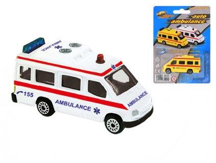 Ambulance CZ 7cm kov volný chod 2barvy na kartě
