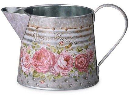 Konvička malá plechová 185x115x105mm, růže