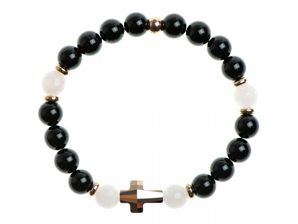 Glosery náramok s lesknúcim krištáľom v tvare krížika od Swarovski®, stopery, lesklý čierny achát a ruženín 6-8mm