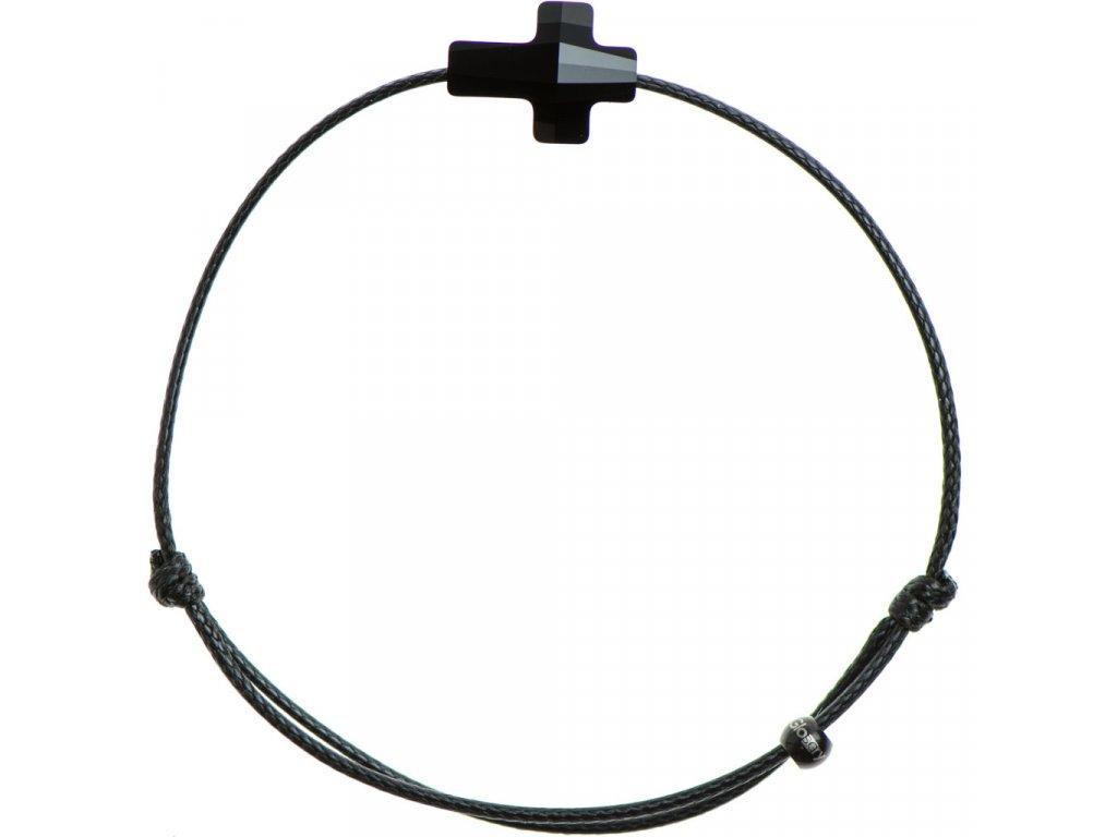 Šnúrkový Glosery náramok s lesknúcim krištáľom v tvare krížika od Swarovski®, šnúrka 1mm